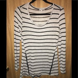 Grey-black striped sweater with zippers